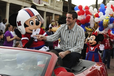 Mickey Mouse and Aaron Rodgers. Photo courtesy Disney