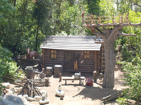 Mike Fink's cabin on the Rivers of America at Disneyland