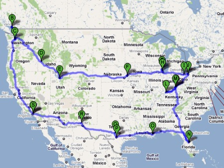 Google map of the Niles family 2010 summer road trip