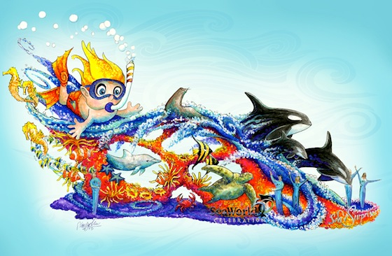 SeaWorld's 'Sea of Surprises' Rose Parade float