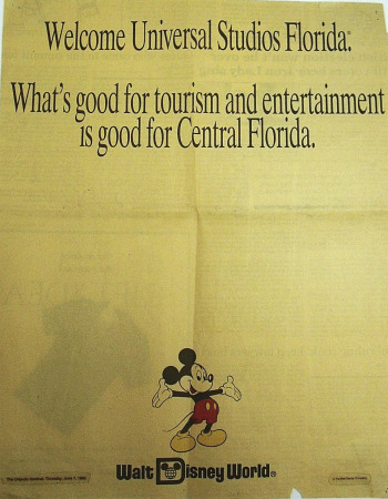 Orlando Sentinel ad from Walt Disney World welcoming Universal Studios Florida