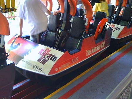Karate Kid promo on Six Flags Magic Mountain's Ninja coaster