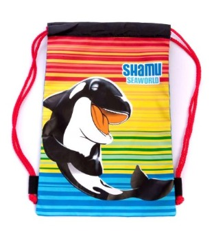 A Laughing Shamu tote bag