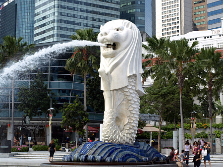 The Merlion in Singapore Harbor