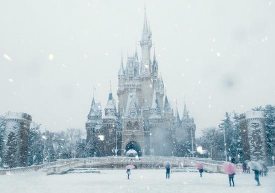 Tokyo Disneyland in the snow