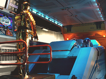 R2D2 and C-3PO in Star Tours at Disneyland