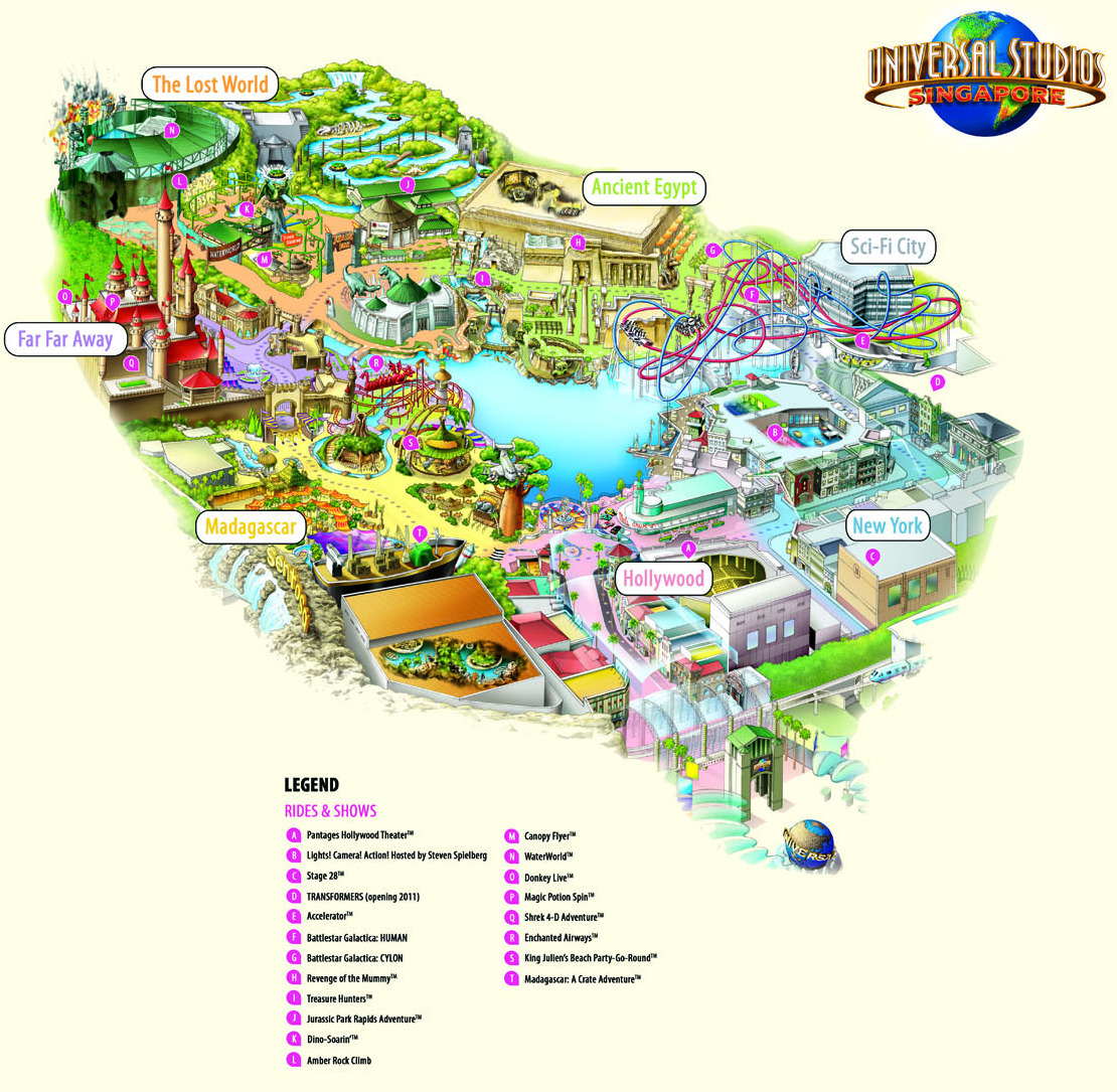 First look at the theme park map for Universal Studios Singapore – Tourist Attractions Map In Singapore