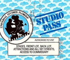 Front of Universal Studios Florida preview ticket