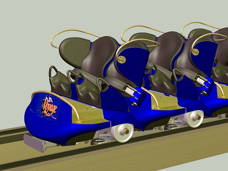 Concept art of the new Timberliner trains for Holiday World's The Voyage