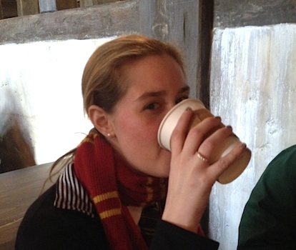 Drinking warm butterbeer