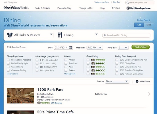 Walt Disney World dining reservation page