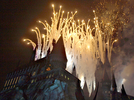 Fireworks over Hogwarts Castle