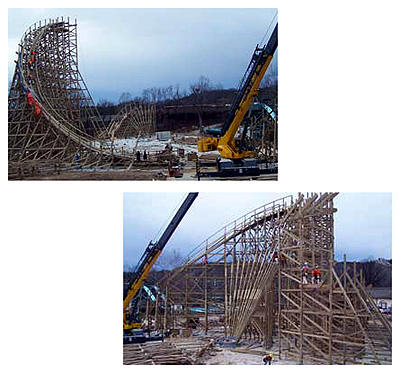 Evel Knievel roller coaster construction photos