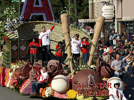 Los Angeles Angels on the City Anaheim's Rose Parade float