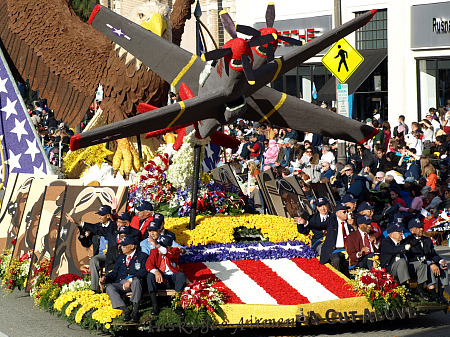 Tuskegee airmen float in the 2010 Rose Parade
