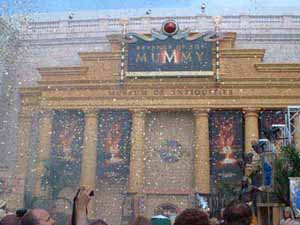 Confetti rains from the sky after the explosions.