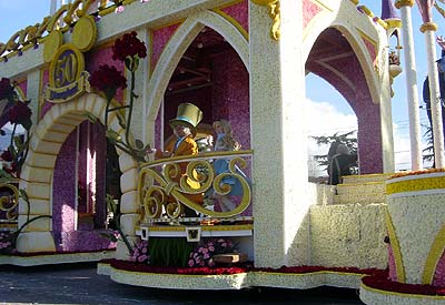 Alice and the Mad Hatter were among the Disney characters on the park's Rose Parade float