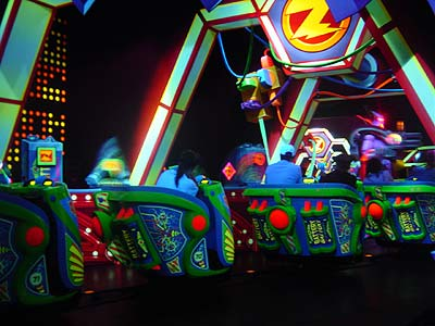 Inside Buzz Lightyear Astro Blasters at Disneyland