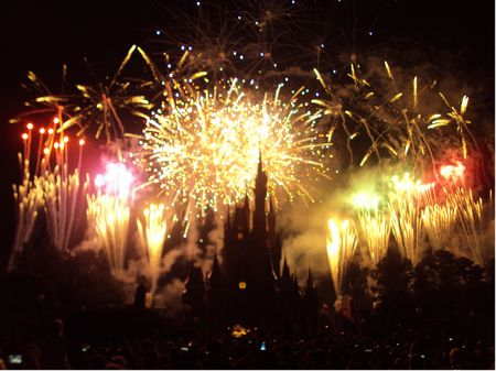 Fireworks surround Cinderella's Castle at Walt Disney World's Magic Kingdom