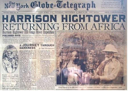 Newspaper account of Harrison Hightower's fateful journey, on display in the attraction queue.