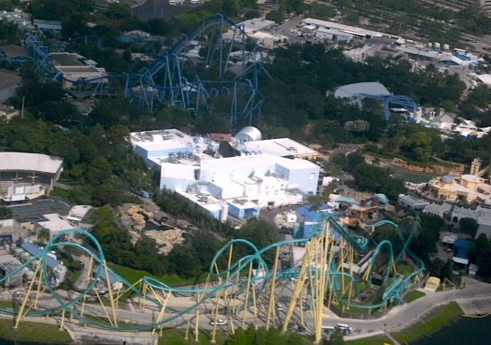 Aerial view of SeaWorld Orlando
