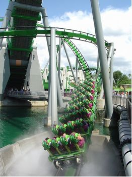 Exiting the fog tunnel on Incredible Hulk Coaster