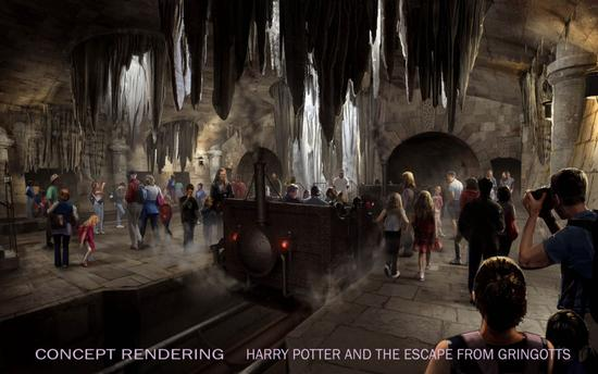 Universal concept art for Harry Potter and the Escape from Gringotts