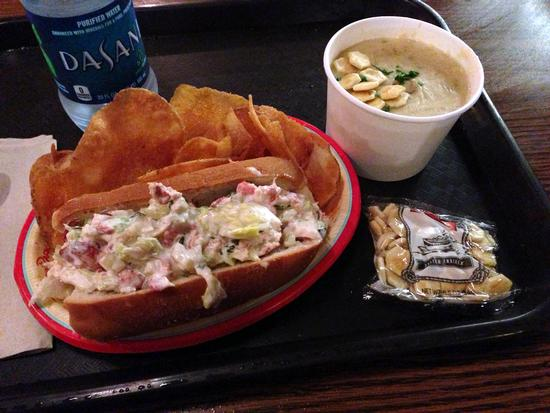 Lobster roll and clam chowder