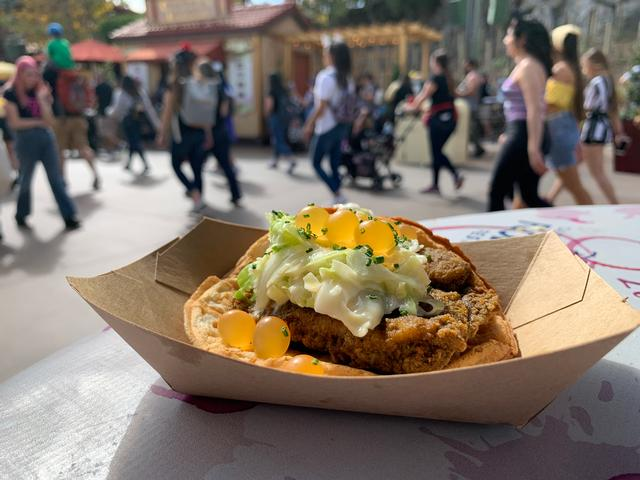 Brunch Fried Chicken & Waffle Sandwich with Mimosa-inspired Slaw and OJ Bubbles