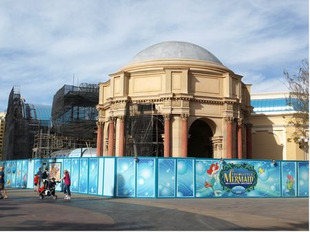 The DCA Little Mermaid show building under construction