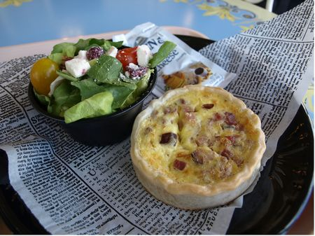 Ham and cheese quiche with house salad at Disneyland's Jolly Holiday Bakery