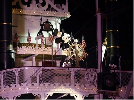 Mickey at the wheel, in the finale of Disneyland's Fantasmic!