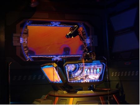 Inside the Star Tours queue droid room