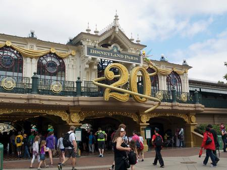 The Main Street train station, celebrating Disneyland Paris' 20th anniversary
