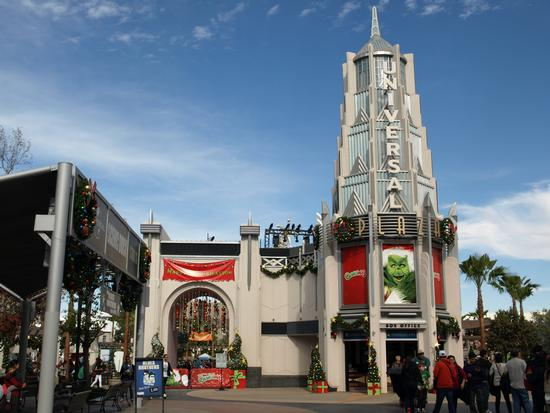 Universal Plaza, decorated for its first Grinchmas