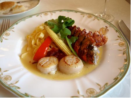 Baked Lobster Tail and Sauteed Scallops with Butter Sauce at S.S. Columbia Dining Room