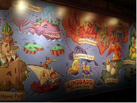 A map in the queue showing Sindbad's voyages