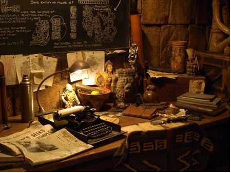 Detail of Dr. Jones' desk, in the queue