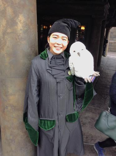 Team member, with owl
