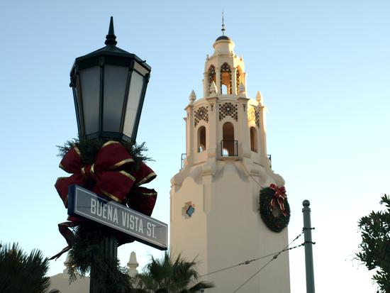 Carthay Circle with holiday decorations