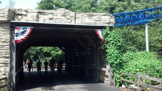 photo of covered bridge hiding Millennium Force