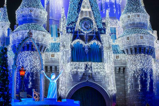 Elsa and the Disney World castle