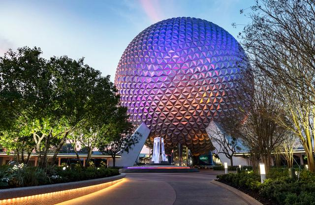 Epcot entrance in 2020