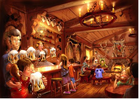 Concept art of Gaston's Tavern, courtesy Disney