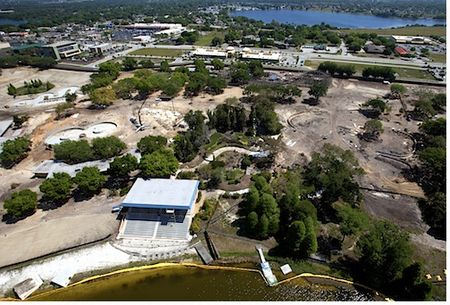 Aerial view of Legoland Florida under construction