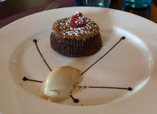 Warm chocolate almond cake, with praline ice cream