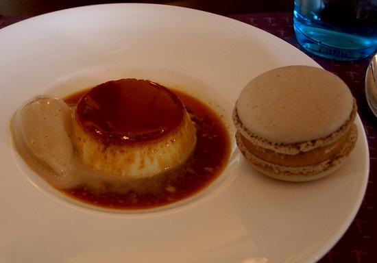 Creme caramel, with sea salt caramel ice cream and a caramel macaron