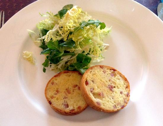 From the children's menu: Ham and Gruyere cake