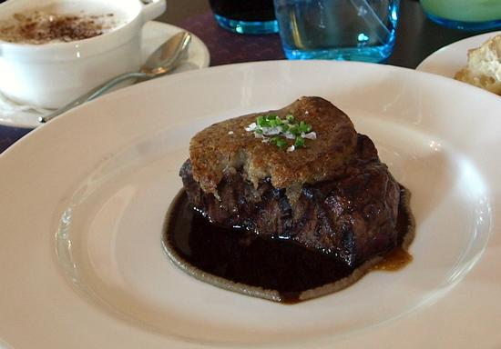 Grilled beef tenderloin with mushroom crust, black truffle-laced mashed potatoes, and Bordelaise sauce ($43)