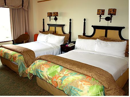 The two-queen-beds room at the Royal Pacific